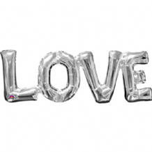 "Silver LOVE Phrase Mini-Foil Balloon (9"" Air) 1pc"